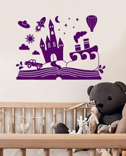 Vinyl wall sticker cartoon fairy tale book castle childrens room decoration stickers,  bedroom ET40