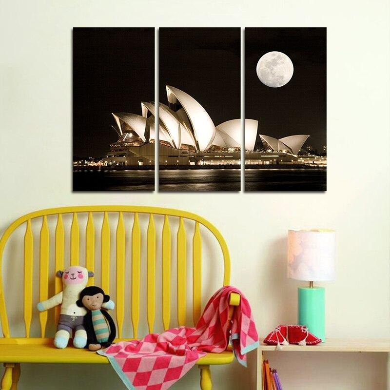 Modern city Sydney Opera House decoration dark night wall art ...