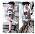 2-12Y crianças hip hop roupas crianças Coreano meninos curto set 2016 meninos roupas de verão adolescente moda