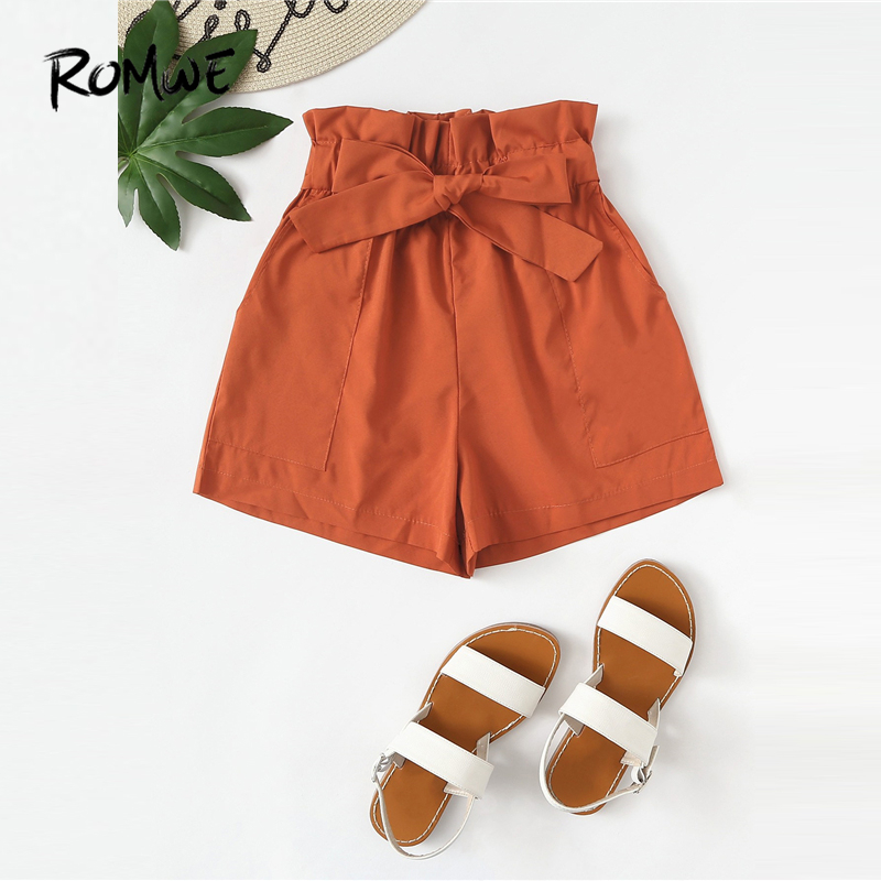 ROMWE Ruffle Waist Self Tie   Shorts   2019 Women Preppy Summer Streetwear   Shorts   Posh Orange High Waist Straight Leg   Shorts