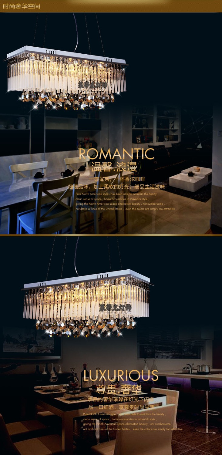 Modern First class K9 Crystal Chandelier Lamp,The Rectangular Crystal Dining Chandelier Light Fixtures-in Chandeliers from Lights & Lighting    3