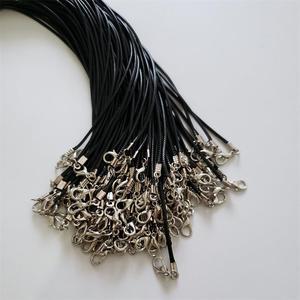 Image 2 - Toptan 100 adet/grup 1.5mm siyah balmumu deri kordon halat kolye 45cm istakoz toka ile kordon kolye kabloları diy takı