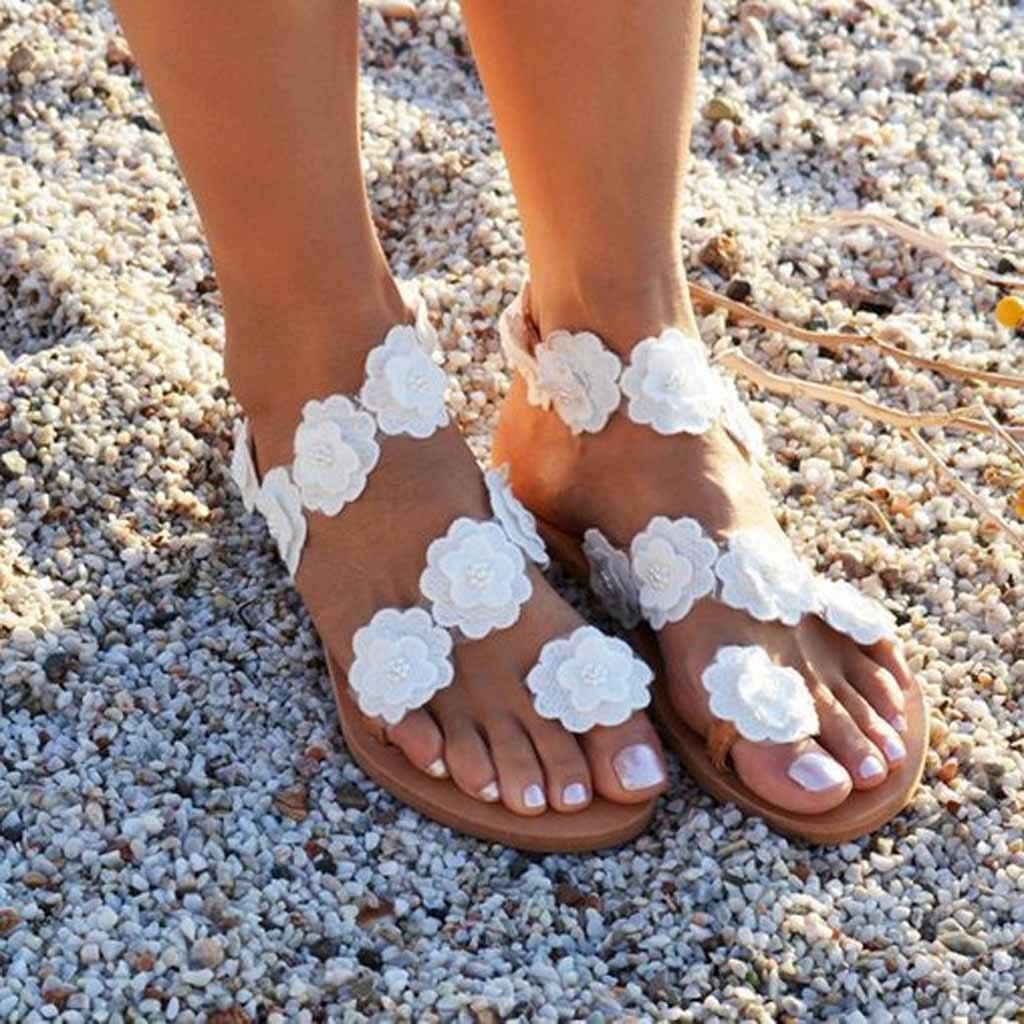 MüHsam Muqgew 2019 Neue Ankunft Mode Frauen Zehe Blume Flachen Boden Schuhe Sommer Sandalen Offene Spitze Rom Sandalen Zapatillas Mujer Gesundheit FöRdern Und Krankheiten Heilen Frauen Schuhe