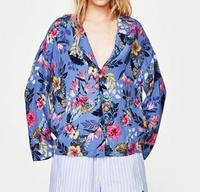 WISHBOP Người Phụ Nữ MỚI 2017 Mùa Hè Ngày Lễ Màu Xanh Áo Sơ Mi In Nhãn Nút Cổ Áo up front Long Sleeve Blouse top
