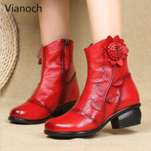 Vianoch New Fashion Leather Snow Boots Women Winter Warm Ankle Soft Fur Shoes Woman wo1808138