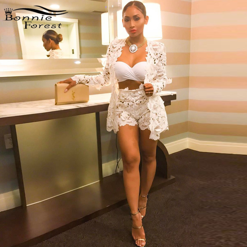Bonnie Forest Elegant Pure White Floral Lace Cardigan And Shorts Set Womens Sexy Hollow-out Lace Two-piece Shorts Set Plus Size