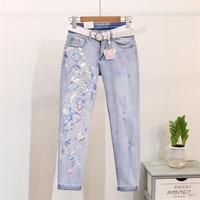 2019 Korean fashion Nail Pearl Embroidery Sequins Skinny Pencil Pants Girls Ladies Vintage holes Jeans r965