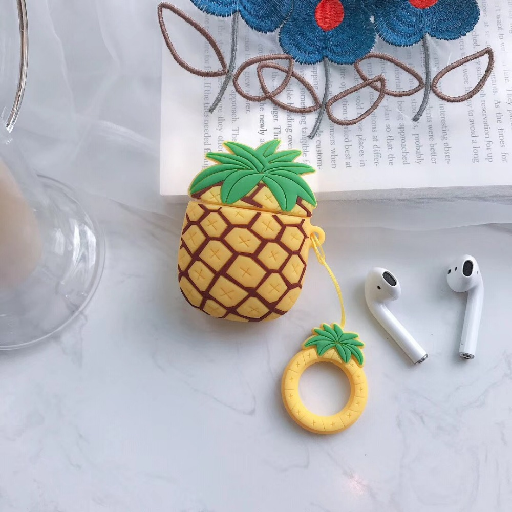 Image 5 - cartoon 3D pineapple Earphone Headset Accessories Silicone protection case For Airpods Wireless Bluetooth Headset bags-in Earphone Accessories from Consumer Electronics