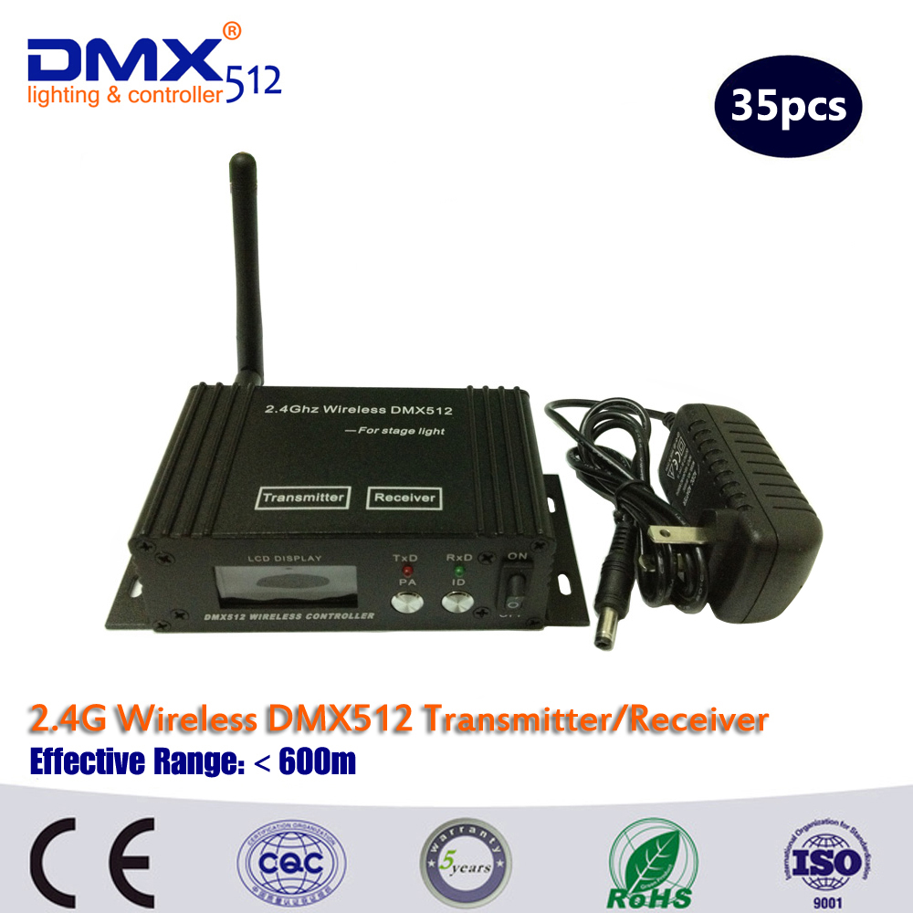 35PCS LCD Display 2.4Ghz Wireless DMX Transceiver And Receiver 2 In 1 Controller For DJ Stage Lighting
