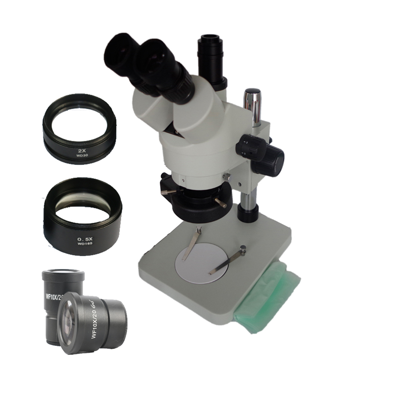 3 5X 90X Trinocular Stereo Zoom Simul focal Soldering Microscope with 0 5X 2 0X auxiliary