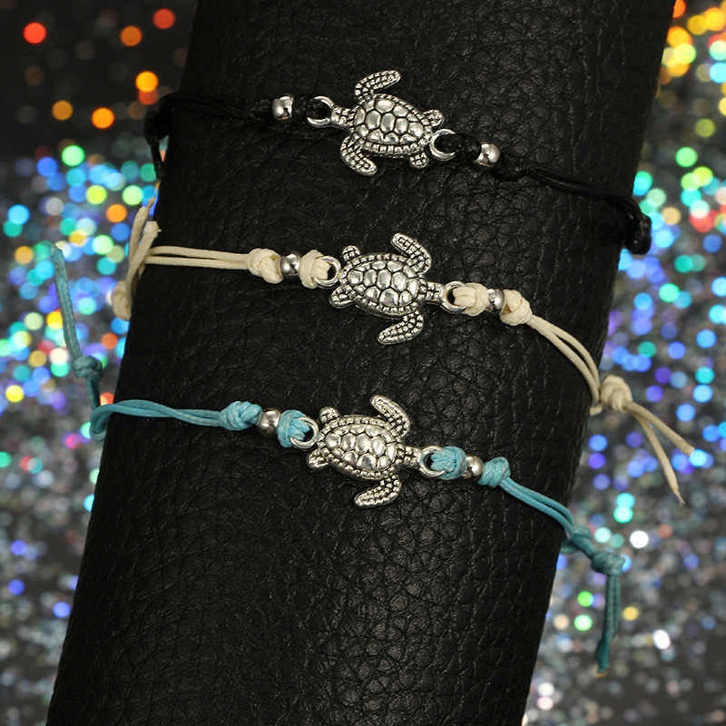 Trendy Beach Turtle Anklets Bracelets Fashion Rope Silver Color Alloy Anklets Chain For Female Party Gift 4