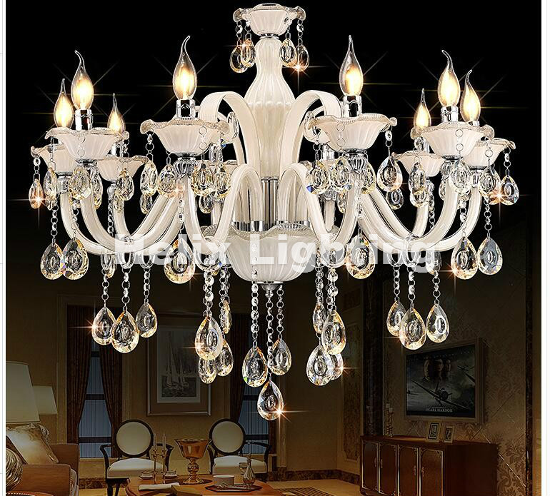 Фотография Free Shipping White Crystal Chandelier Modern Chandelier lustres de cristal Decoration Tiffany Pendants and Chandeliers Lighting