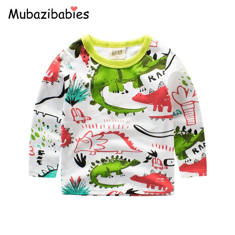 Autumn Childrens Clothing Toddler Boy Long Sleeve Tops Cotton Boys Bottom t-shirt Baby Boy Sweatshirt o-neck Dinosaur Shirts