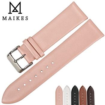 MAIKES 12 мм-24 мм модные розовые ремешки для часов женские аксессуары для часов кожаный ремешок тонкие часы браслет для брендового ремешка >> MAIKES Watches & Accessories Store