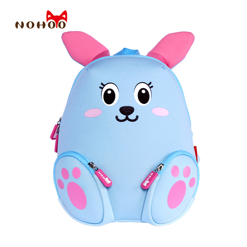 NOHOO Little Kids Children's School Bags Backpacks 3D Cartoon Rabbit Small Backpack Toddler Baby Girls School for 2-4 Years Old nohoo toddler kids backpack 3d rocket space cartoon pre school bags children school backpacks kindergarten kids bags mochila