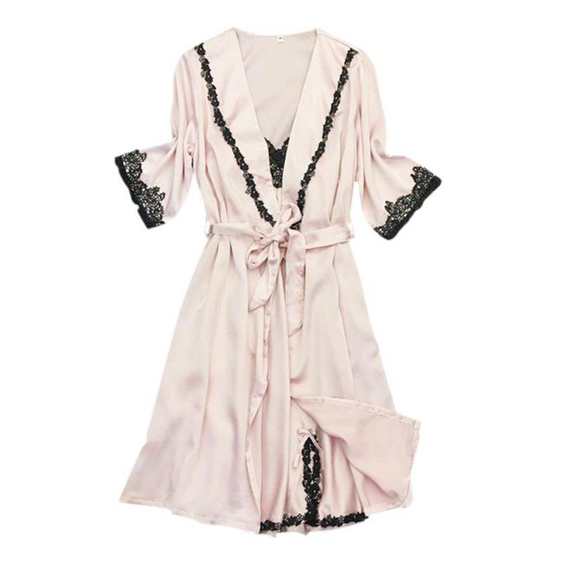 Heiße Frauen Sommer Sexy Robe 2 Teile/satz Kurze Hülse Über Knie Pyjamas Sling 4 Farben Silk Robe Damen-nachtwäsche