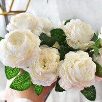 Artificial Peony Flowers Leaf Bouquet Home Floral Wedding Garden Decor Gift Sale thumbnail