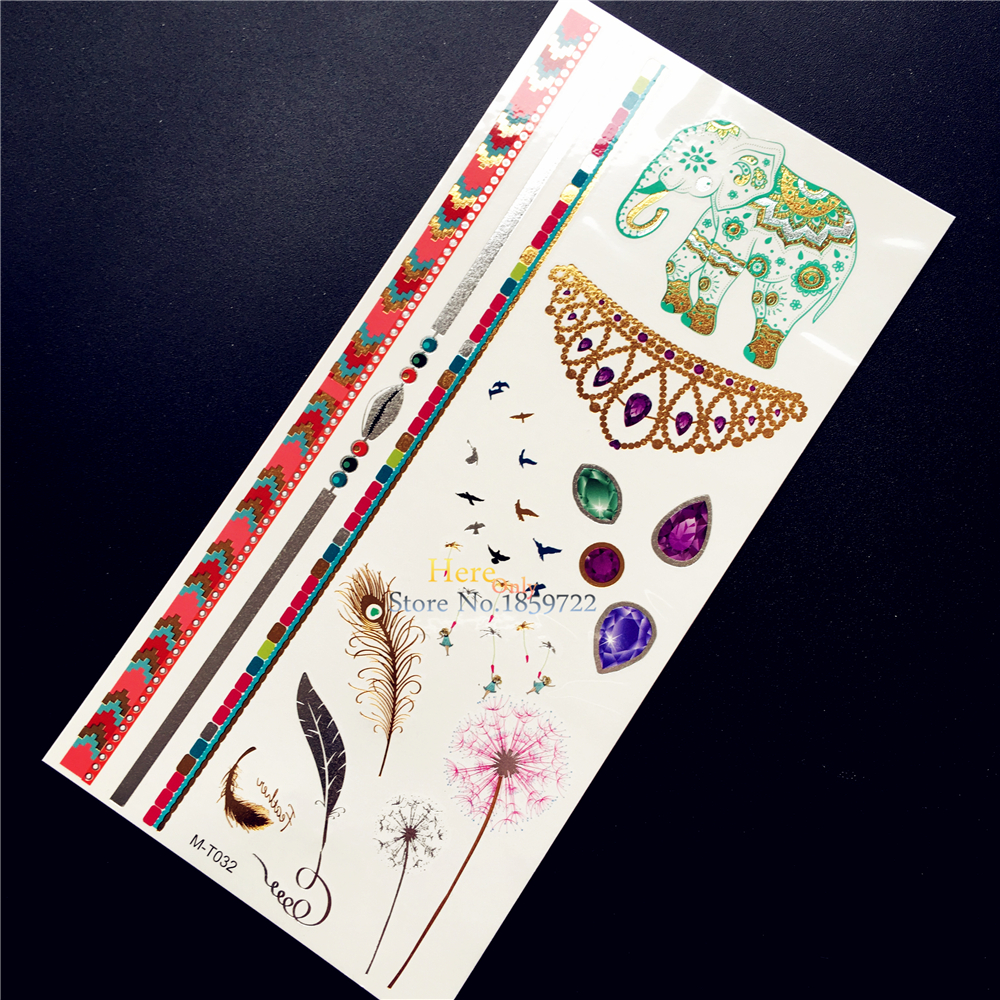 1PC New Gold Metallic Tattoo Elephant Gem Necklace Design Tempoary Tattoo Sticker Waterproof Dandelion Fairy Tatoo Arm Leg Jewel
