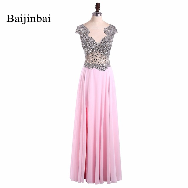 Baijinbai Fashion New Robe De Soiree Pink Long Evening Party Dress ...
