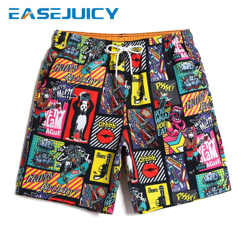 2019 Men's bathing suit quick dry surfboard beach   shorts   plus size hawaiian bermudas printed swimwear   board     shorts   mesh