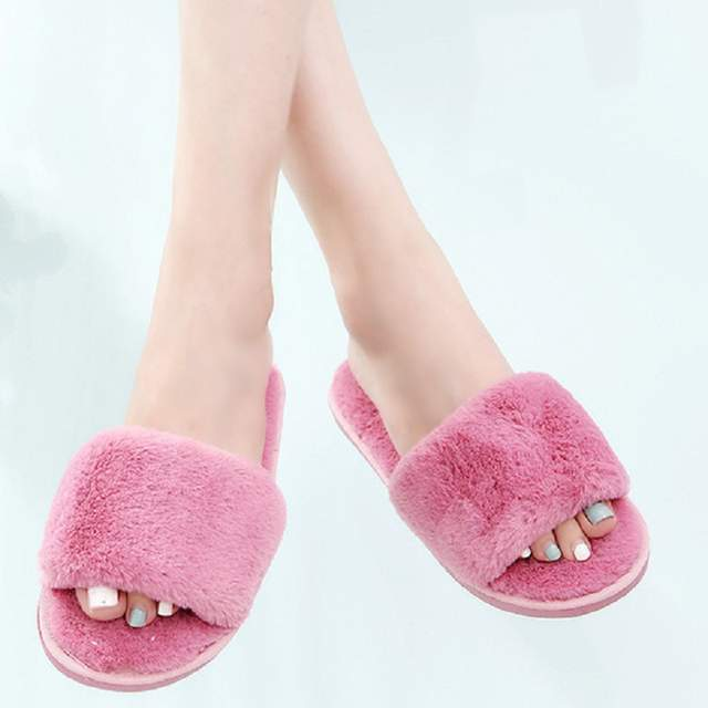 db436d599b US $6.15 49% OFF|Fur Slippers Woman Fashion Winter Fluffy Slides Sandals  Female Casual Shoes Indoor Chaussure Femme Women Tap Hoe Flip Flops-in ...
