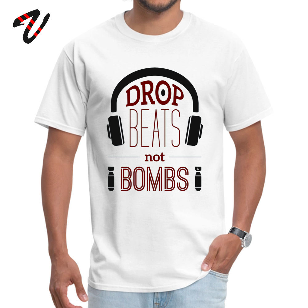 Drop Beats Not Bombs Student Hot Sale Tops T Shirt Crew Neck Labor Day Wolf Top T-shirts Printed Michael Myers Sleeve
