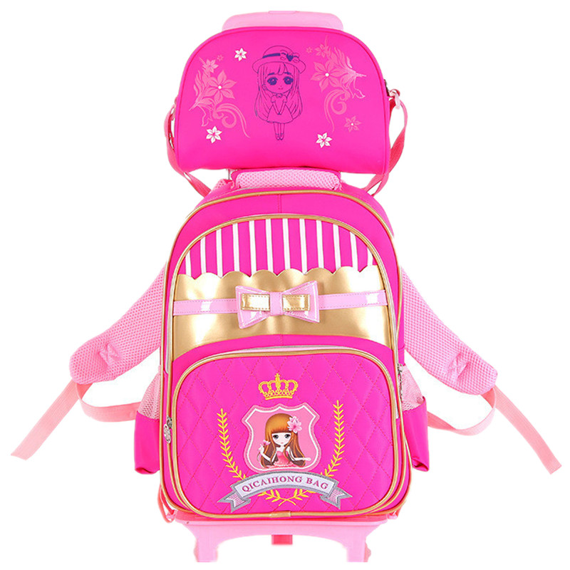 Children Trolley Backpack School Bags For Grils Boys Wheeled Bag Students Removable Nylon Backpacks for teenagers MochilaChildren Trolley Backpack School Bags For Grils Boys Wheeled Bag Students Removable Nylon Backpacks for teenagers Mochila