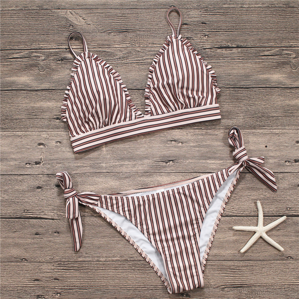 <font><b>2018</b></font> <font><b>Sexy</b></font> <font><b>Bikini</b></font> <font><b>Set</b></font> Push Up Women Swimwear Swimsuit Female Retro Striped Swim Suit Ruffle Frilled <font><b>Bikinis</b></font> Tie Bottoms image