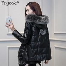 Tcyeek натуральная кожа натуральная овчина пальто женский зимний пуховик женский натуральный Лисий мех с капюшоном толстые теплые короткие куртки LWL1090