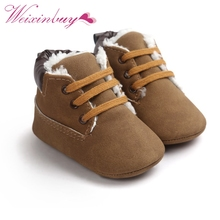Baby Shoes Toddler Boy Winter Warm Newborn Baby Soft Bottom Lace Up Classic Tie Up Boots  0-18 M