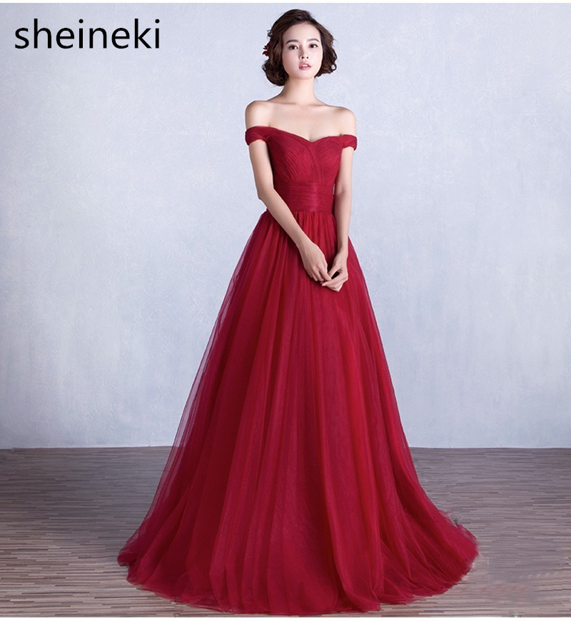 Cheap Burgundy Red Pink Long Evening Dresses 2017 Sexy Off