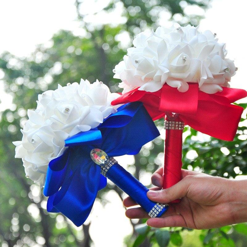 New European style hand holding flowers Crystal Silk Ribbon bride diamond hand holding flowers Flowers Wedding Decoration