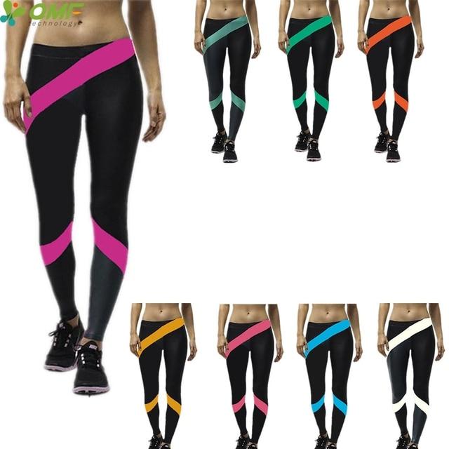 d92f0e885dfee Fashion Rainbow Stripe Leggings Femme Black Stretchy High Waist Trouser  Sexy Hips Push Up Fitness Pantalon