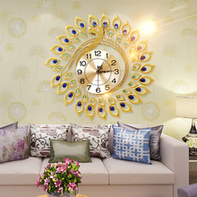 Golden Peacock Personalized Rustic Decoration Wall Clock for Living Room Fashion Modern Mute Quartz Clocks 58