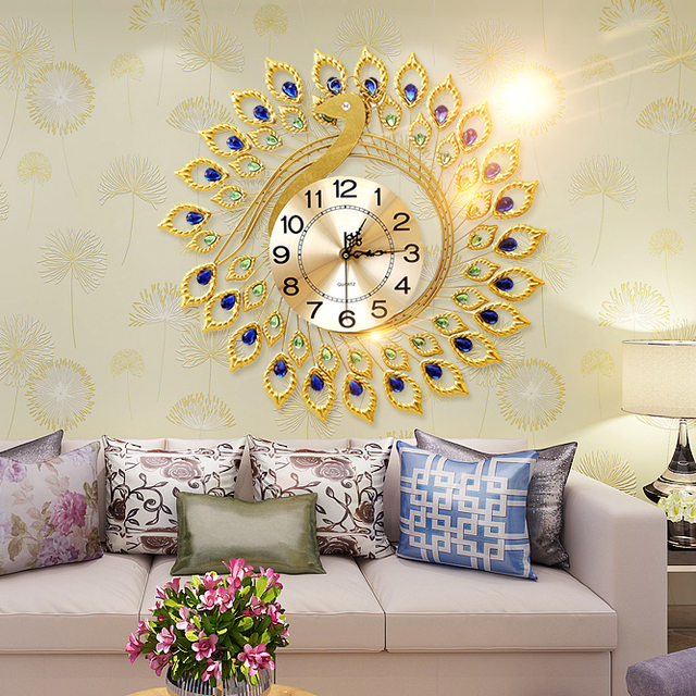 Golden Peacock Personalized Rustic Decoration Wall Clock for Living ...