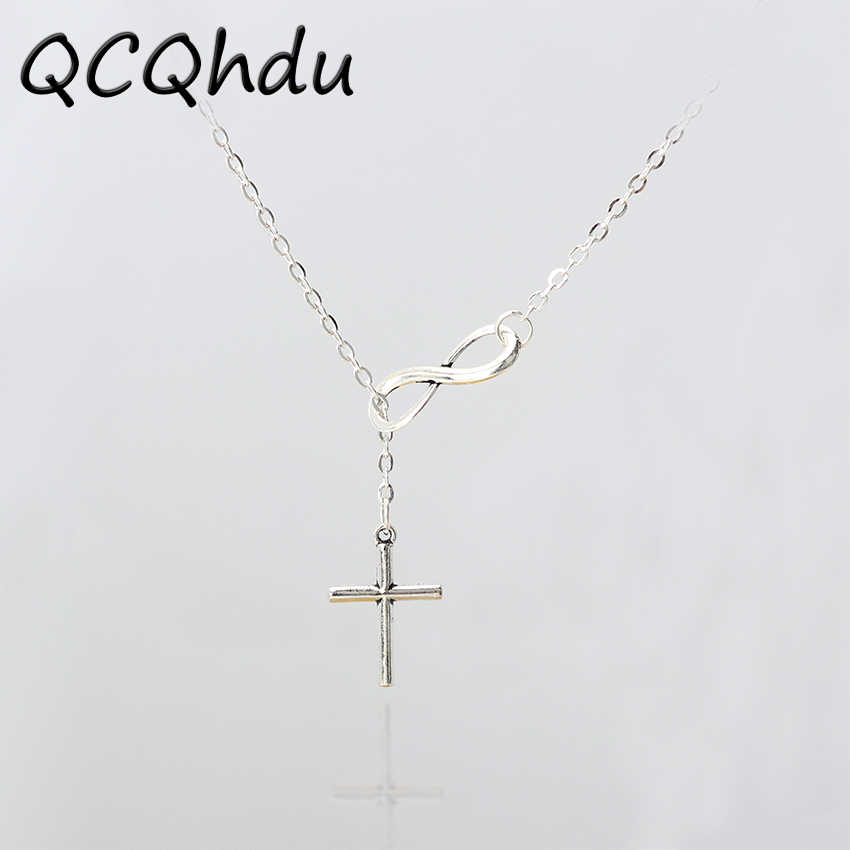 Hot Selling New Minimalist Infinity Symbol Luck 8 Cross Pendants Necklaces for Women Clavicle Jewelry