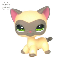 pet shop lps toys 1116 Short Hair Cat Yellow Kitty With Red Ears Animal Figure Free