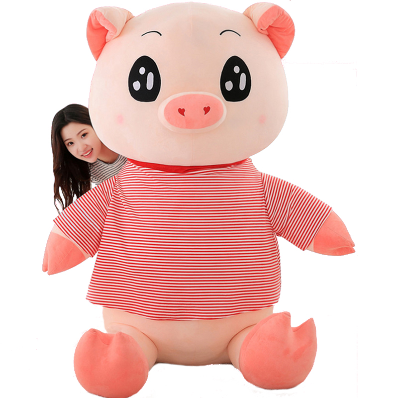 Fancytrader Big Soft Stuffed Pig Plush Toys Giant Animals Piggy Doll Wearing Tshirt 2 Sizes Nice Gifts for Kids fancytrader giant 95cm stuffed fat cats pillow doll cuddly soft animals cat toys 37inch nice kids gifts