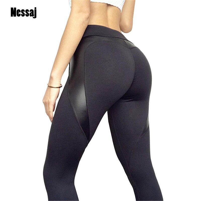 Nessaj Sexy Black Heart Shape Booty   Leggings   PU Leather Patchwork Skinny Long Pants Women Push Up Workout Sporting   Leggings
