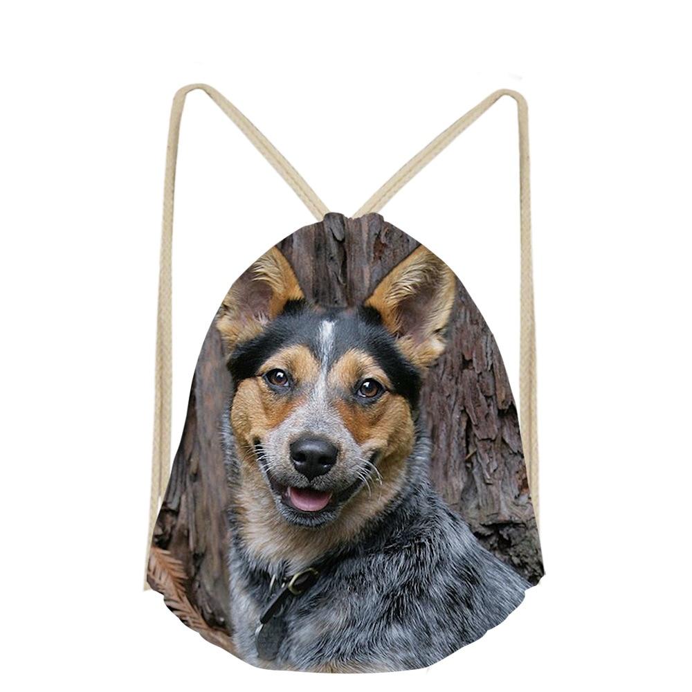 3D Australian Cattle Dog Custom For Boys Girls Drawstring Bag Dog Lover DailyPack Pocket Bags Small School Mochilas Escolar