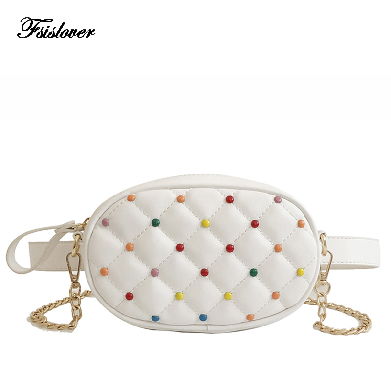 2018 Farbige Nieten Design Taille Packs Stepp Pu Leder Schulter Taschen Frauen Fanny Pack Damen Luxus Marke Mode Gürtel Tasche Attraktive Mode