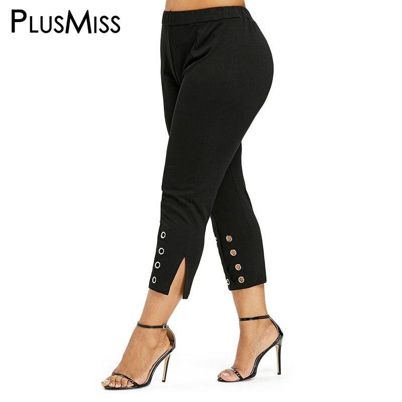 PlusMiss Plus Size XXXXL XXXL 3XL Black High Waist Pencil   Pants     Capri   Women Office Ladies Trousers Big Size Pantalon Large Femme