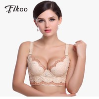 Fikoo Sexy Embroidery Push Up Bras For Women Lingerie Deep V Bralette Top Adjustment Plus Size