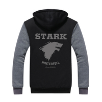 2016 Game Of Thrones House Stark Of Winterfall Sweatshirt Zipper Fleece Winter Hoodies Men Tracksuit USA