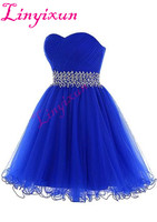 High Quality 2018 Homecoming Dresses Royal Blue Short Prom Dresses Sweetheart Neck Ruched Tulle Crystals Beaded Cocktail Gown