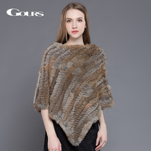 лучшая цена Gours Fur Wrap for Women Winter Warm Ladies Knitted Natural Rabbit Fur Shawl Fashion Brand Poncho Pashmina Party Pullover New 03