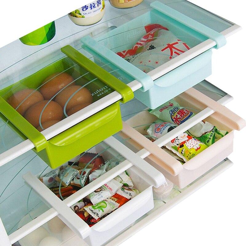 Umweltfreundliche Multifunktions Küche Kühlschrank Lagerung Rack Kühlschrank Mit Gefrierfach Regal Halter Pull-out Schublade Veranstalter Raum saver