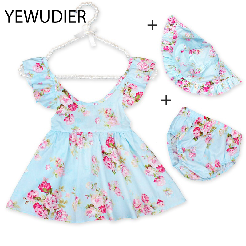 YEWUDIER Fashion Cute Floral girl baby clothing dress set sleeveless ruffle tutu kids toddler clothes outfits with shorts hat kids pineapple print tee with rolled hem shorts