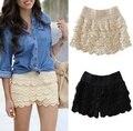 Multi-layer lace shorts mujeres shorts faldas de color negro color Beige hollow crochet alta elasticidad sexy pantalones cortos
