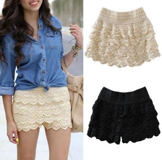 Multi layer lace shorts mujeres shorts faldas de color
